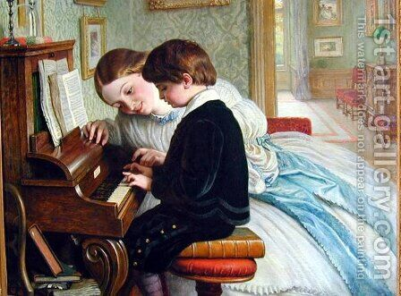 The Music Lesson by Charles West Cope - Reproduction Oil Painting