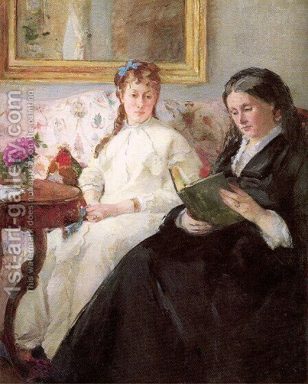 The Mother and Sister of the Artist (or The Lecture) by Berthe Morisot - Reproduction Oil Painting