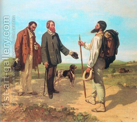 The Meeting (or Bonjour, Monsieur Courbet) by Gustave Courbet - Reproduction Oil Painting