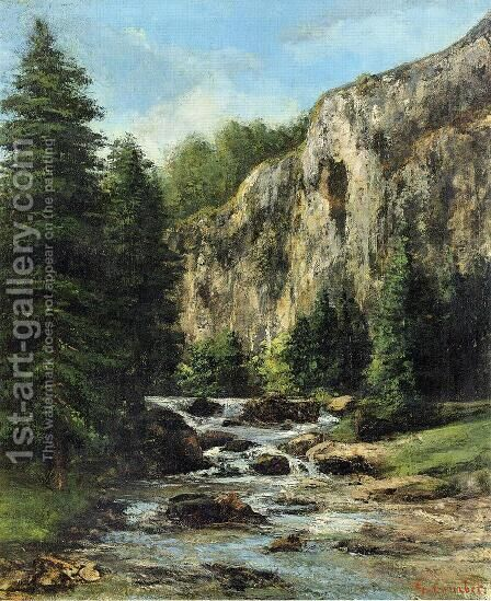 Study for 'Landscape with Waterfall' by Gustave Courbet - Reproduction Oil Painting