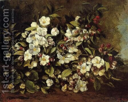 Flowering Apple Tree Branch by Gustave Courbet - Reproduction Oil Painting