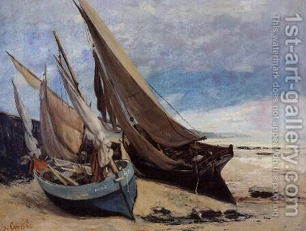 Fishing Boats on the Deauville Beach by Gustave Courbet - Reproduction Oil Painting