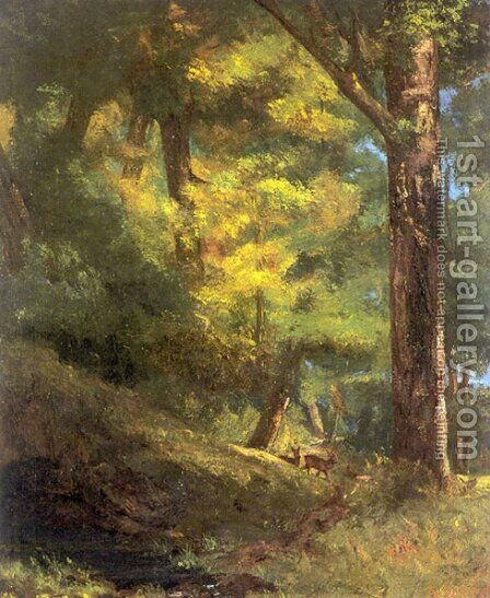 Deux Chevre Uils Dans la Forêt (Two Goats in the Forest) by Gustave Courbet - Reproduction Oil Painting