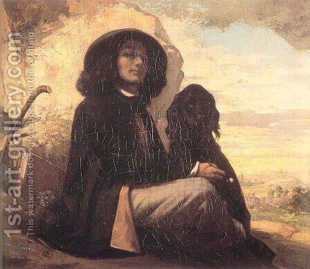 Self Portrait (or Courbet with a Black Dog) by Gustave Courbet - Reproduction Oil Painting