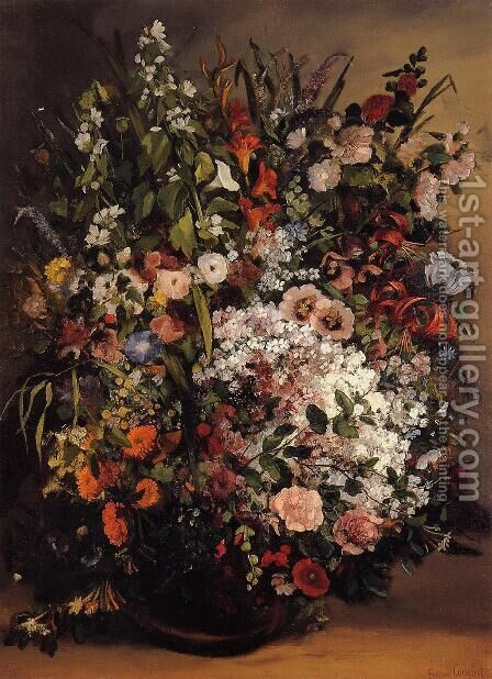 Bouquet of Flowers in a Vase by Gustave Courbet - Reproduction Oil Painting