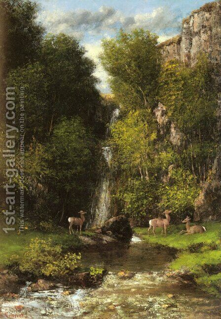 A Family of Deer in a Landscape with a Waterfall by Gustave Courbet - Reproduction Oil Painting