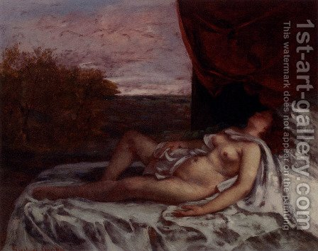 Femme Nue Endormie by Gustave Courbet - Reproduction Oil Painting