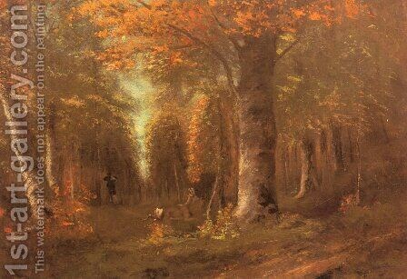 La Fôret En Automne (Forest in Autumn) by Gustave Courbet - Reproduction Oil Painting