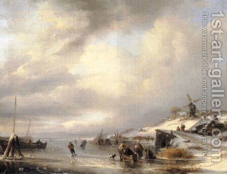 Figures on a frozen lake by Antonij Andreas de Meyer - Reproduction Oil Painting