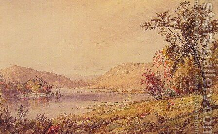 Greenwood Lake, New Jersey by Jasper Francis Cropsey - Reproduction Oil Painting