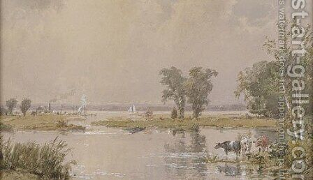 Hackensack Meadows by Jasper Francis Cropsey - Reproduction Oil Painting