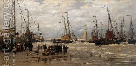 Pinks in the Breakers by Hendrik Willem Mesdag - Reproduction Oil Painting