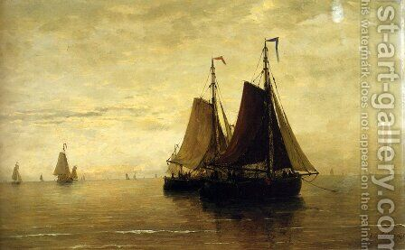 Kalme Zee by Hendrik Willem Mesdag - Reproduction Oil Painting