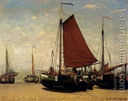 The Bomschuit Prinses Sophie On The Beach, Scheveningen by Hendrik Willem Mesdag - Reproduction Oil Painting