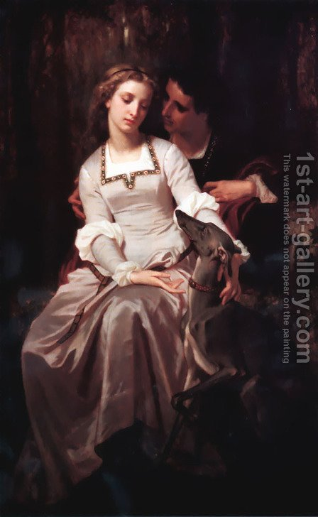 Tristan and Isolde by Hugues Merle - Reproduction Oil Painting
