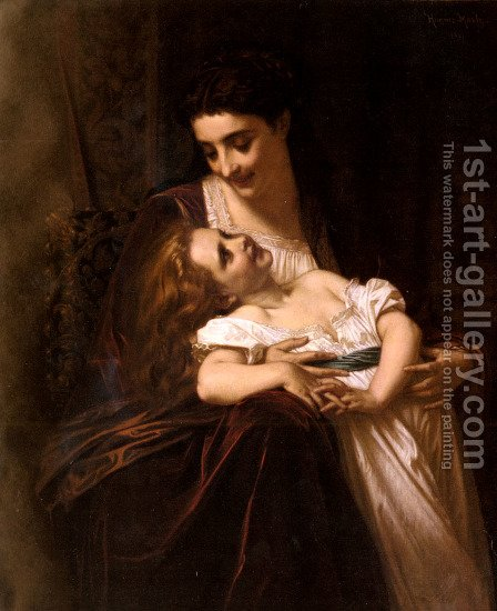 Maternal Affection by Hugues Merle - Reproduction Oil Painting