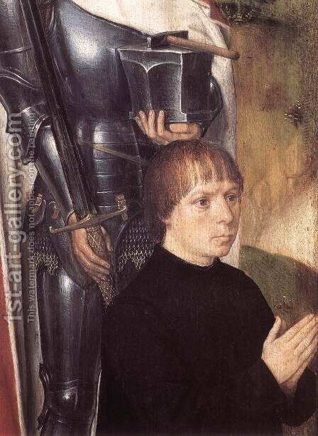 Triptych of Adriaan Reins [detail: 1, left wing] by Hans Memling - Reproduction Oil Painting
