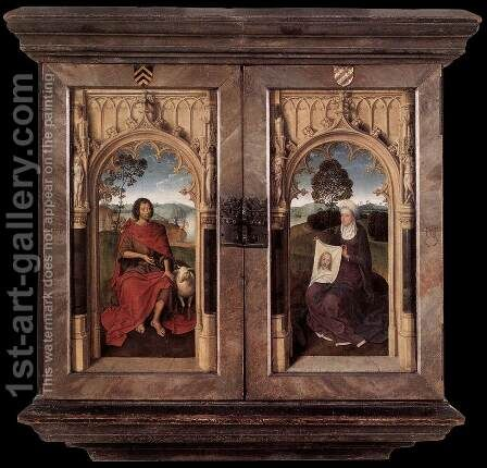 Triptych of Jan Floreins [detail: 2, reverse] by Hans Memling - Reproduction Oil Painting
