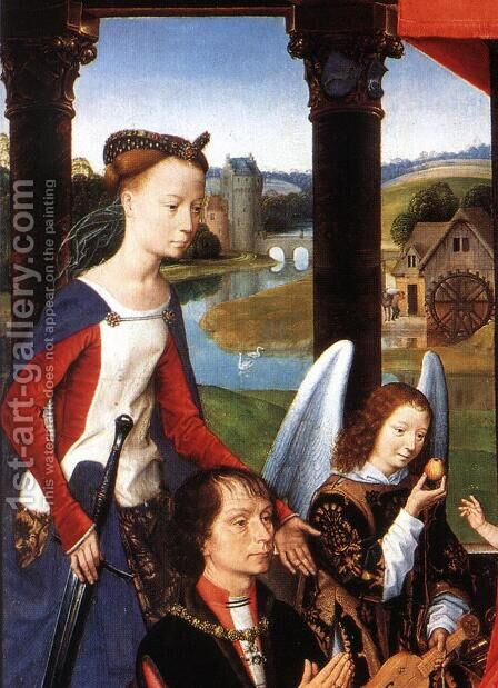 The Donne Triptych [detail: 3, central panel] by Hans Memling - Reproduction Oil Painting