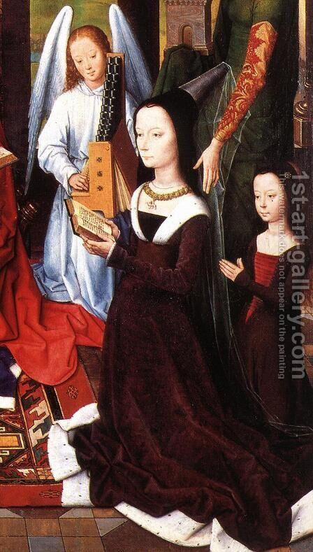 The Donne Triptych [detail: 5, central panel] by Hans Memling - Reproduction Oil Painting