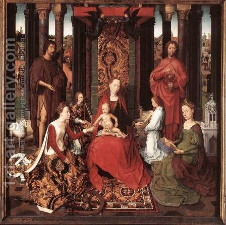 St John Altarpiece [detail: 6, central panel] by Hans Memling - Reproduction Oil Painting