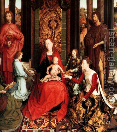 The Mystic Marriage Of St. Catherine Of Alexandria (central panel of the San Giovanni Polyptch) by Hans Memling - Reproduction Oil Painting