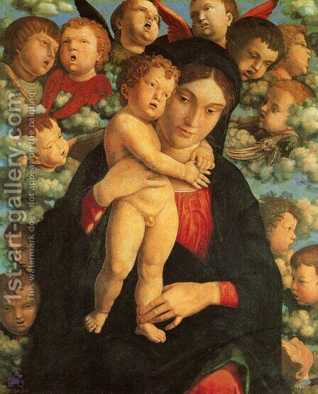 Madonna and Child with Cherubs by Andrea Mantegna - Reproduction Oil Painting