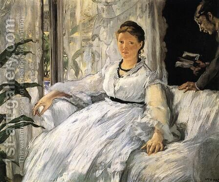 Reading (or Mme Manet and Léon) by Edouard Manet - Reproduction Oil Painting
