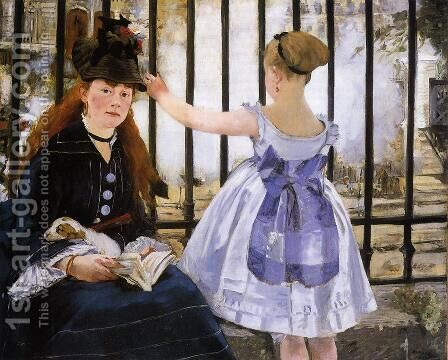 Le Chemin de fer (The Railroad) by Edouard Manet - Reproduction Oil Painting