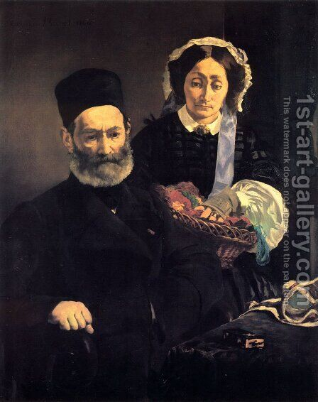 M. and Mme Auguste Manet by Edouard Manet - Reproduction Oil Painting