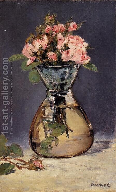 Moss Roses In A Vase by Edouard Manet - Reproduction Oil Painting
