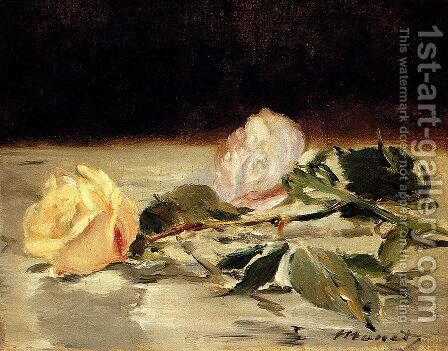 Two Roses On A Tablecloth by Edouard Manet - Reproduction Oil Painting