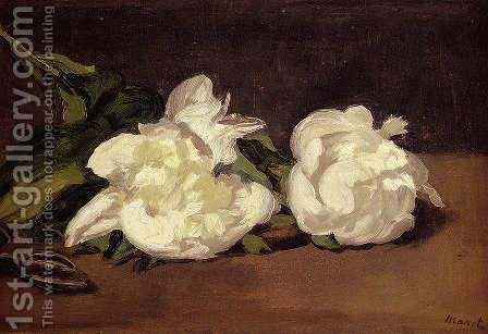 Branch Of White Peonies With Pruning Shears by Edouard Manet - Reproduction Oil Painting