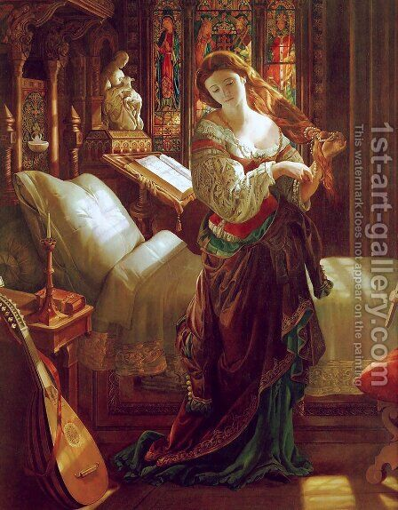 Madeline after prayer by Daniel Maclise - Reproduction Oil Painting