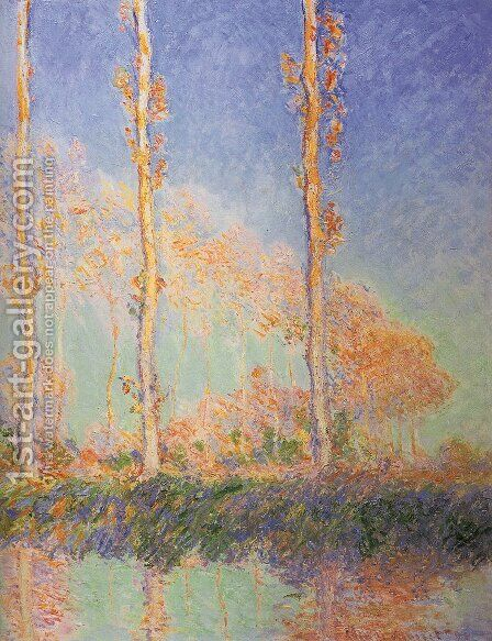 Les Peupliers, trois arbres roses, automne (Poplars) by Claude Oscar Monet - Reproduction Oil Painting