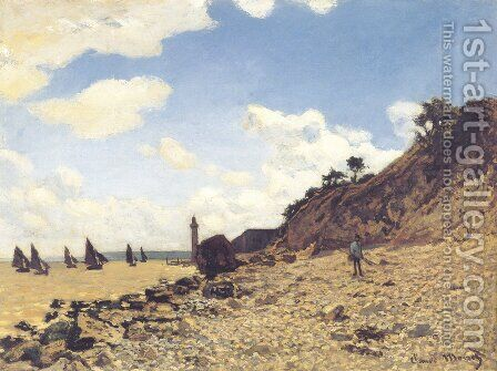 Beach at Honlfeux by Claude Oscar Monet - Reproduction Oil Painting