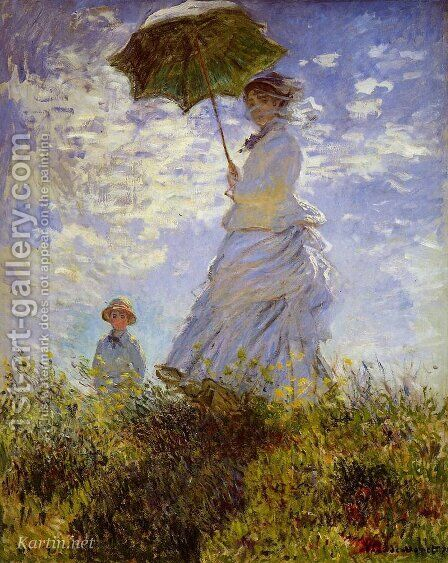 Woman with a Parasol by Claude Oscar Monet - Reproduction Oil Painting