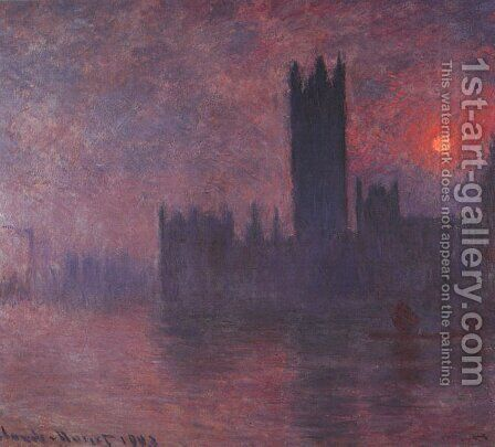 London: Houses of Parliament at Sunset by Claude Oscar Monet - Reproduction Oil Painting