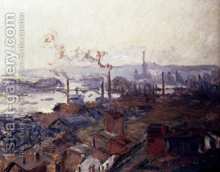 General View Of Rouen From St. Catherine's Bank by Claude Oscar Monet - Reproduction Oil Painting
