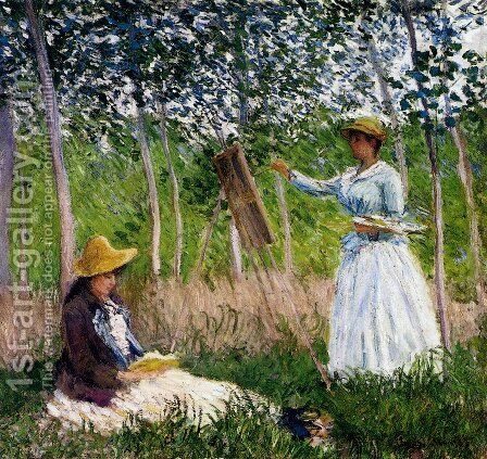 In The Woods At Giverny - BlancheHoschede Monet At Her Easel With Suzanne Hoschede Reading by Claude Oscar Monet - Reproduction Oil Painting