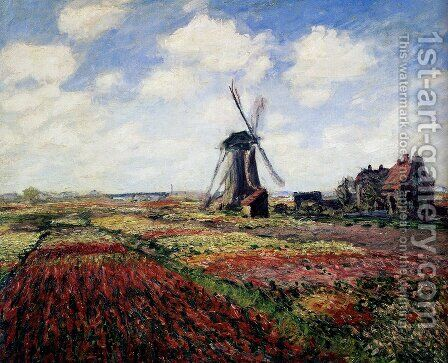 Tulip Fields With The Rijnsburg Windmill by Claude Oscar Monet - Reproduction Oil Painting