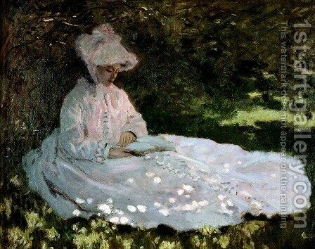 A Woman Reading by Claude Oscar Monet - Reproduction Oil Painting