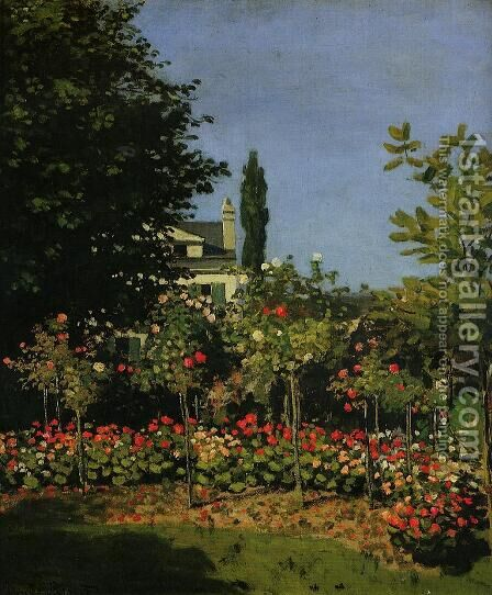 Garden In Flower At Sainte-Adresse by Claude Oscar Monet - Reproduction Oil Painting