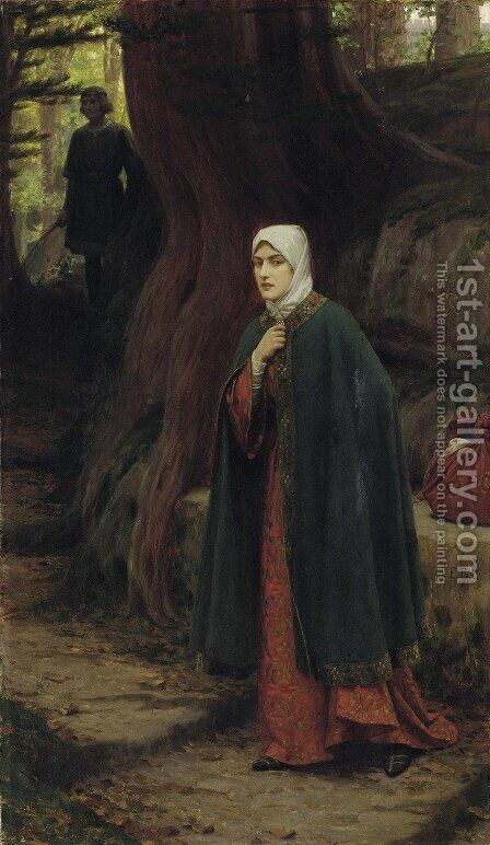Forest Tryst by Edmund Blair Blair Leighton - Reproduction Oil Painting