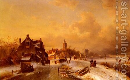 Winter and Summer Canal Scenes: A Pair of Paintings (Pic 1) by Charles Henri Joseph Leickert - Reproduction Oil Painting