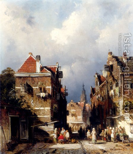 A Dutch Street Scene by Charles Henri Joseph Leickert - Reproduction Oil Painting