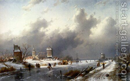A Frozen Winter Landscape With Skaters by Charles Henri Joseph Leickert - Reproduction Oil Painting