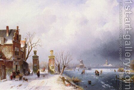 A Sunlit Winter Landscape by Charles Henri Joseph Leickert - Reproduction Oil Painting