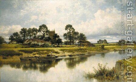 Severn Side, Sabrina's Stream at Kempsey on the River Severn by Benjamin Williams Leader - Reproduction Oil Painting