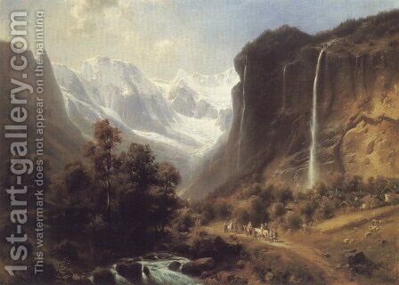 Travellers on a Mountainous Path by the Staubachfall Near Lauterbrunnen by Heinrich Hofer - Reproduction Oil Painting